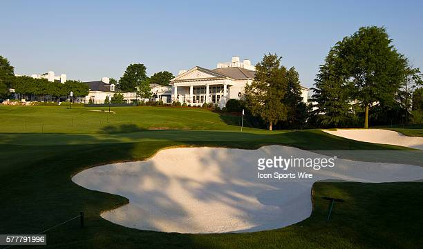 General view of the 18th green with the clubhouse prior to the Quail Hollow Championship at Quail Hollow Country Club in Charlotte North Carolina on...