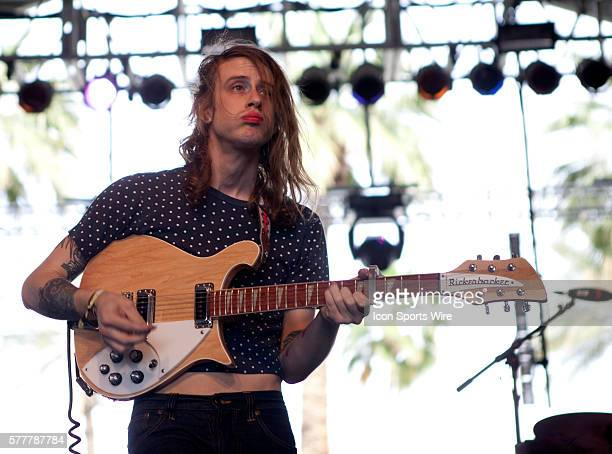 Girls performs on the Gobi Stage during the second day of the Coachella Valley Music and Arts Festival held at the Empire Polo Grounds in Indio CA