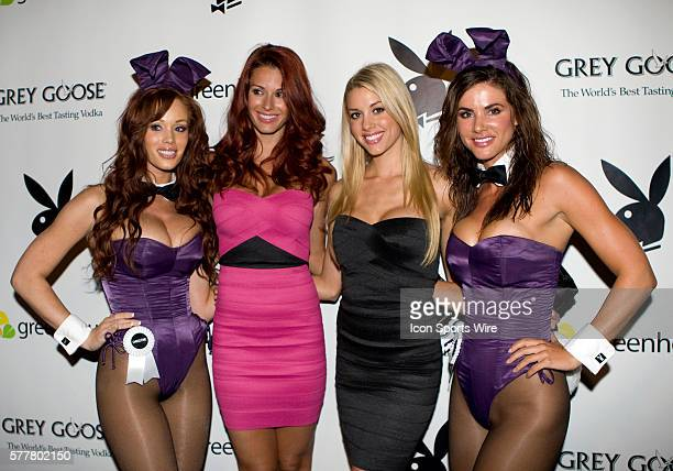 Playboy Playmate Jaime Edmondson Miss Jan 2010 and Playboy Playmate Heather Rae Young Miss February 2010 take time to grab a photo with fellow...