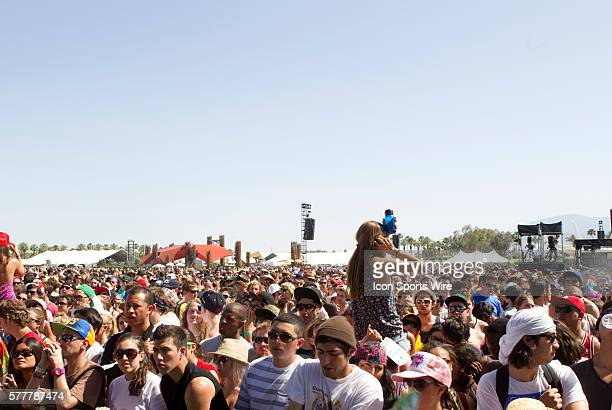 The crowd at the Coachella Stage during the first day of the Coachella Valley Music and Arts Festival held at the Empire Polo Grounds in Indio CA
