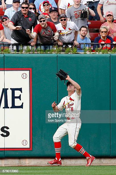 St Louis Cardinals center fielder Peter Bourjos prepares to catch for an out against the Pittsburgh Pirates at Busch Stadium in St Louis Missouri