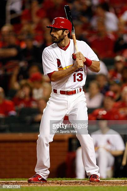 St Louis Cardinals third baseman Matt Carpenter at bat against the Milwaukee Brewers at Busch Stadium in St Louis Missouri