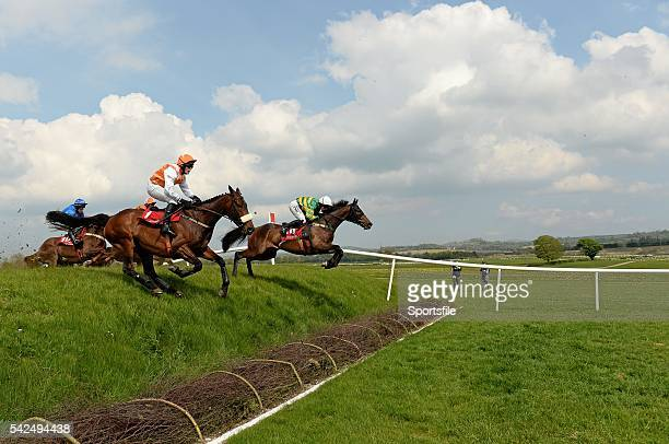 29 April 2014 Be Positive with Nina Carberry up jumps Ruby's Double ahead of Commanchewardance with Robert James up who finished third on their way...