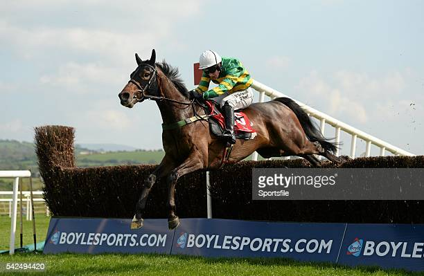 29 April 2014 Be Positive with Nina Carberry up jumps the last on their way to winning the Kildare Hunt Club Fr Sean Breen Memorial Steeplechase...