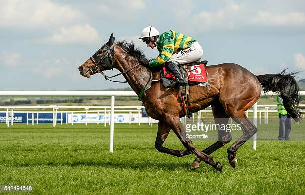 29 April 2014 Be Positive with Nina Carberry up race towards the finish on their way to winning the Kildare Hunt Club Fr Sean Breen Memorial...