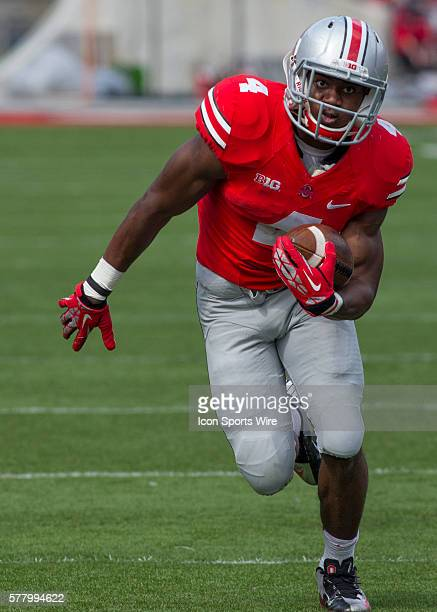 Curtis Samuel of the Ohio State Buckeyes Scarlet Team running with the ball during the game the Ohio State Buckeyes Gray Team and the Ohio State...