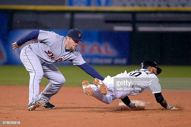 Detroit Tigers second baseman Danny Worth tags out Chicago White Sox shortstop Alexei Ramirez of the Chicago White Sox on a steal attempt during the...
