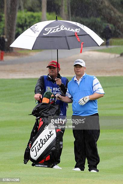 Dudley Hart before the delay of the very wet second round of the RBC Heritage presented by Boeing Golf Tournament, from Harbour Town Golf Links, on...