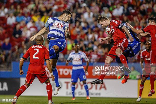 FC Dallas defender Matt Hedges heads a ball towards the goal during the MLS soccer match between Toronto FC and FC Dallas at Toyota Stadium in Frisco...