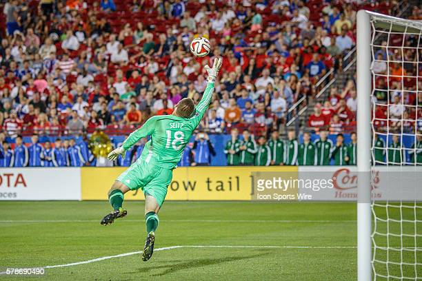 FC Dallas goalkeeper Chris Seitz leaps to make a save during the MLS soccer match between Toronto FC and FC Dallas at Toyota Stadium in Frisco TX