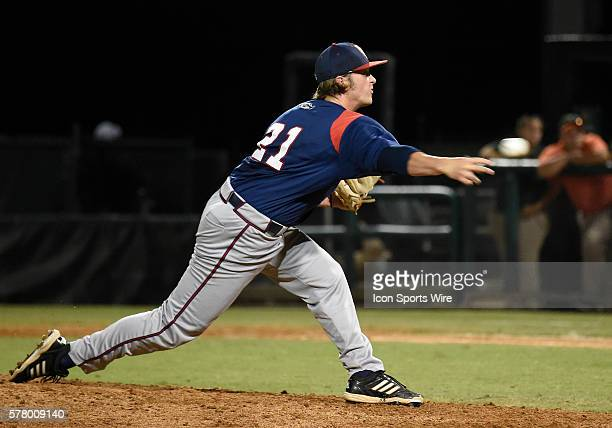 Florida Atlantic University right handed pitcher Reily Monkman pitches against the University of Miami at Alex Rodriguez Park at Mark Light Field...
