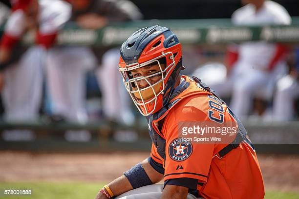 Houston Astros catcher Carlos Corporan in action during the MLB baseball game between the Texas Rangers and Houston Astros at the Globe Life Park in...