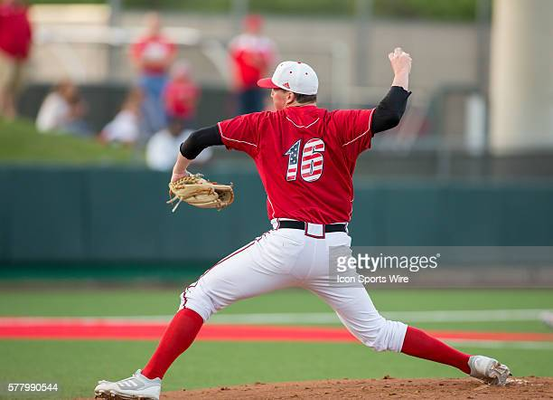 Louisville Cardinals pitcher Kyle Funkhouser throws a pitch during the NCAA baseball game, Louisville @ University of Houston at Cougar Field in...