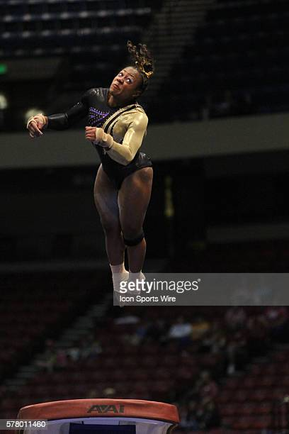 LSU junior Lloimincia Hall performs her vault during the first semifinal of the 2014 NCAA Gymnastics Championships The championships are located at...