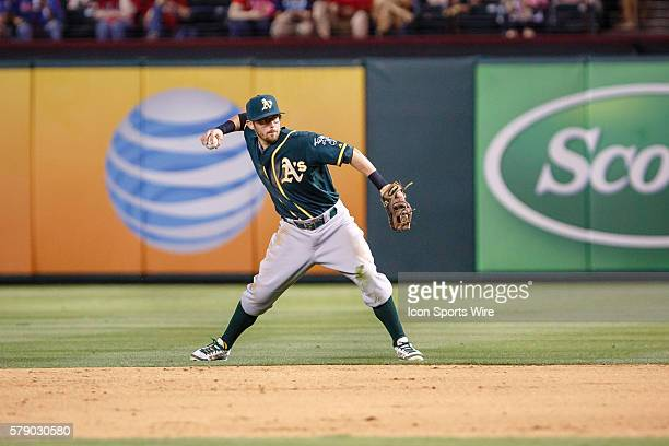 Oakland Athletics second baseman Eric Sogard in action during the MLB baseball game between the Texas Rangers and Oakland Athletics at the Globe Life...
