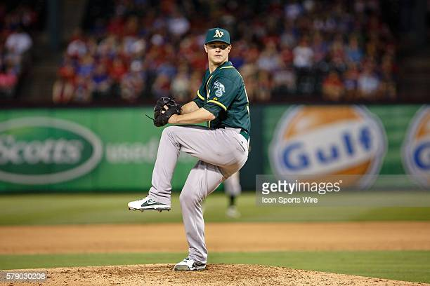 Oakland Athletics starting pitcher Sonny Gray pitches a complete game 3 hitter during the MLB baseball game between the Texas Rangers and Oakland...