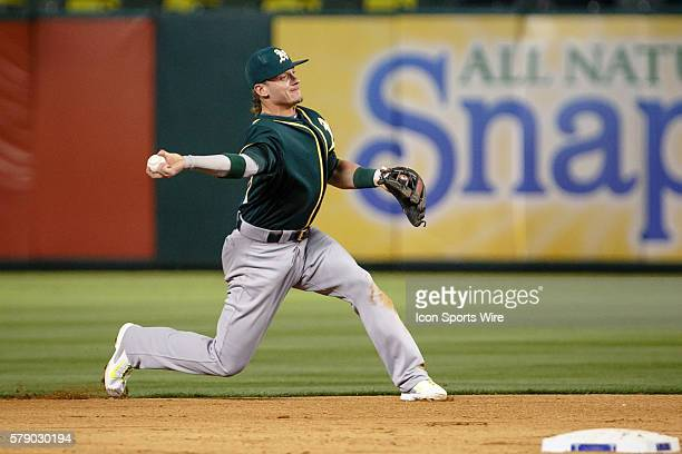 Oakland Athletics third baseman Josh Donaldson in action during the MLB baseball game between the Texas Rangers and Oakland Athletics at the Globe...