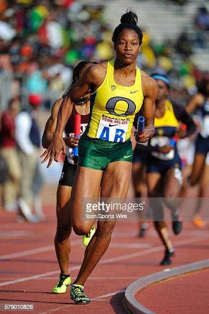 Phyllis Francis of Oregon runs the College Women's 4x400 Championship of America during the Penn Relays at Franklin Field in Philadelphia,...