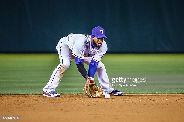Texas Rangers Shortstop Elvis Andrus [6293] in action during the MLB baseball game between the Texas Rangers and Seattle Mariners at the Globe Life...