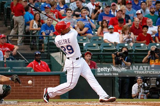 Texas Rangers third baseman Adrian Beltre fouls off a pitch during the MLB baseball game between the Texas Rangers and Oakland Athletics at the Globe...