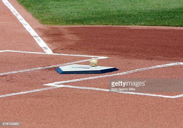 The game ball sits on a commemorative home plate as the Arizona Diamondbacks take on the Chicago Cubs at Wrigley Field in Chicago, IL.