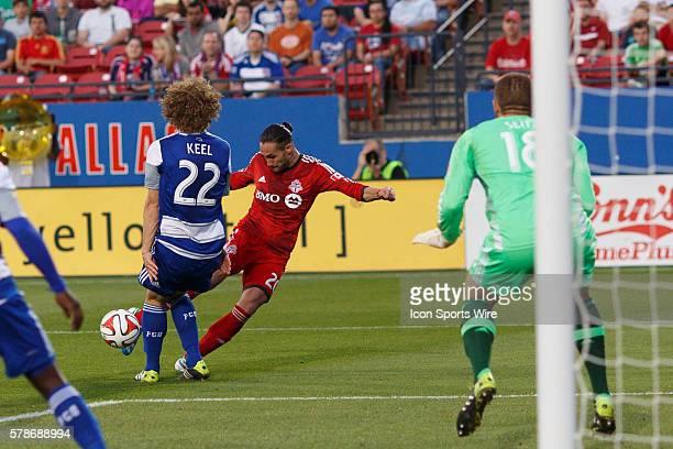 Toronto FC midfielder Issey NakajimaFarran shot deflects into the net during the MLS soccer match between Toronto FC and FC Dallas at Toyota Stadium...