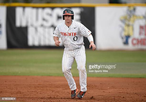 University of Miami catcher Zack Collins plays against the University of Pittsburgh at Alex Rodriguez Park at Mark Light Field Coral Gables Florida...