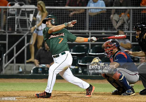 University of Miami infielder Alex Hernandez at bat against Florida Atlantic University at Alex Rodriguez Park at Mark Light Field Coral Gables...