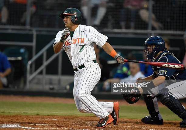 University of Miami infielder Alex Hernandez at bat against the University of Pittsburgh at Alex Rodriguez Park at Mark Light Field Coral Gables...