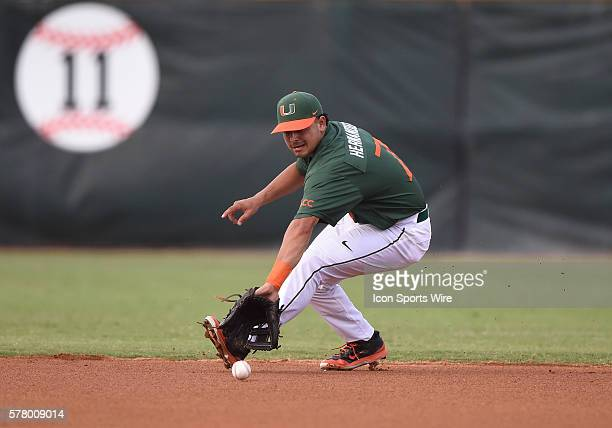 University of Miami infielder Alex Hernandez fields a ground ball against Florida Atlantic University at Alex Rodriguez Park at Mark Light Field...