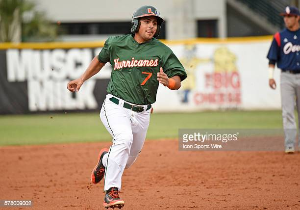 University of Miami infielder Alex Hernandez plays against Florida Atlantic University at Alex Rodriguez Park at Mark Light Field Coral Gables...