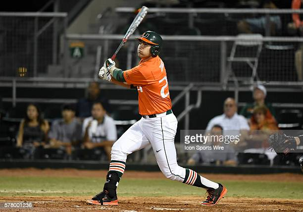 University of Miami infielder/right handed pitcher Brad Zunica at bat against the University of Pittsburgh at Alex Rodriguez Park at Mark Light Field...