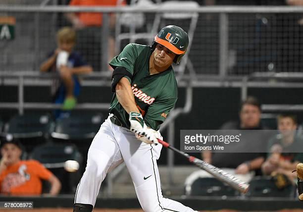 University of Miami outfielder Willie Abreu at bat against Florida Atlantic University at Alex Rodriguez Park at Mark Light Field Coral Gables...