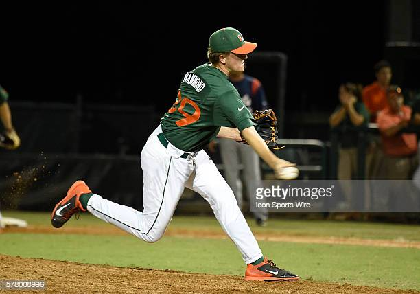 University of Miami right handed pitcher Cooper Hammond pitches against Florida Atlantic University at Alex Rodriguez Park at Mark Light Field Coral...