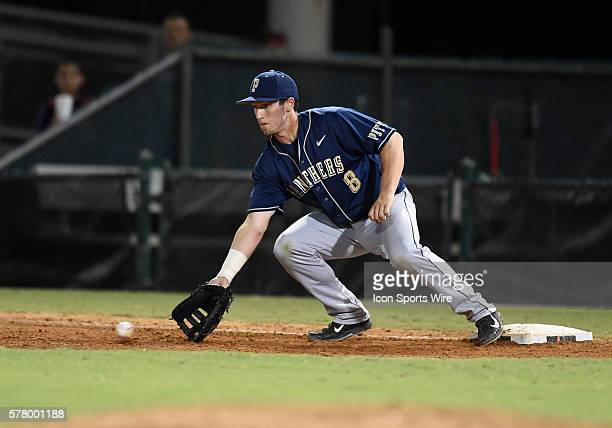 University of Pittsburgh infielder Eric Hess plays against the University of Miami at Alex Rodriguez Park at Mark Light Field Coral Gables Florida in...
