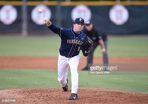 University of Pittsburgh right handed pitcher Sam Mersing pitches against the University of Miami at Alex Rodriguez Park at Mark Light Field Coral...
