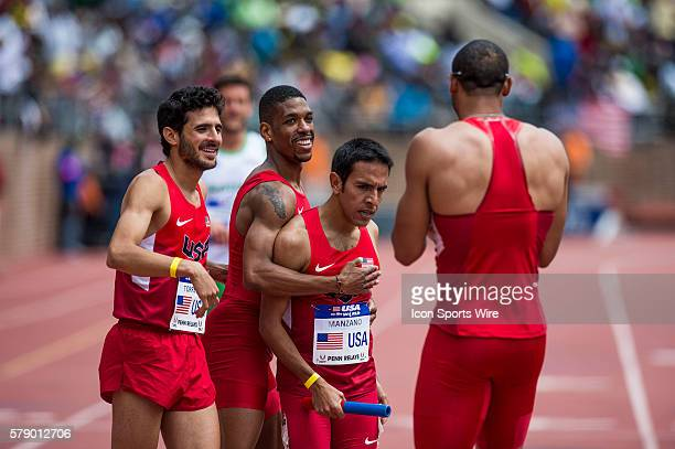 USA men's team David Torrence Quentin IglehartSummers Brandon Johnson Leonel Manzanoduring celebrates at the finish line of the USA vs the World Men...