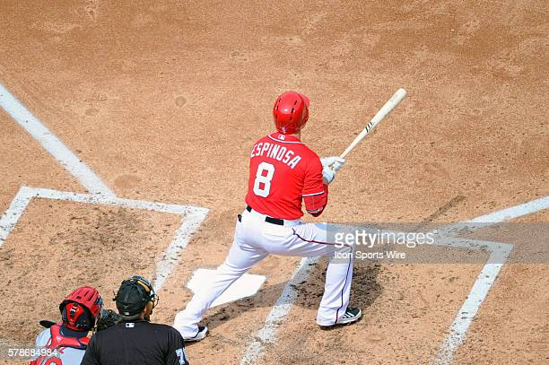 Washington Nationals second baseman Danny Espinosa hits a solo home run at Nationals Park in Washington DC where the St Louis Cardinals defeated the...