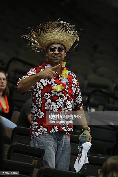 A Jacksonville Sharks fan participates in the teams' beachthemed promotion SharkARitaville during the game between the San Jose Sabercats and the...
