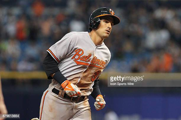 Baltimore Orioles third baseman Ryan Flaherty rounds the bases after hitting a solo home run in the 9th inning of the regular season Major League...