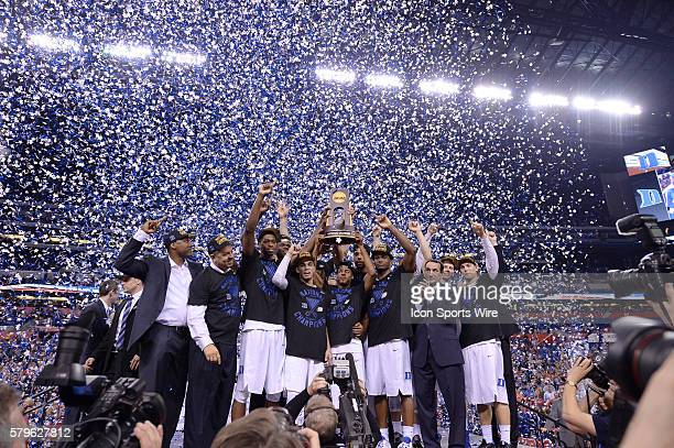 Duke Blue Devils head coach Mike Krzyzewski celebrates with the Duke Blue Devils players, coachesand staff after winning the National Championship...