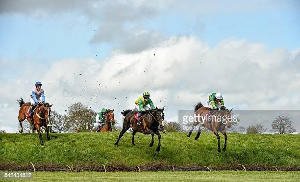 28 April 2015 Eventual winner Wish Ye Didnt right with Nina Carberry up along with Elembridge King with Mark Scallan up centre and Serious Times with...