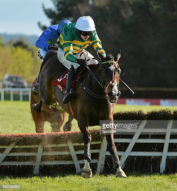 30 April 2015 Jezki with Mark Walsh up jumps the last ahead of Hurricane Fly with Ruby Walsh up who finished second on their way to winning the...