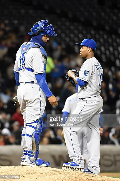 Kansas City Royals catcher Salvador Perez and Kansas City Royals starting pitcher Yordano Ventura having a discussion on the bump while playing in a...