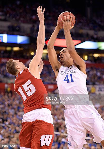 Kentucky forward Trey Lyles shoots the ball during a NCAA Final Four game between the Wisconsin Badgers and the Kentucky Wildcats at Lucas Oil...