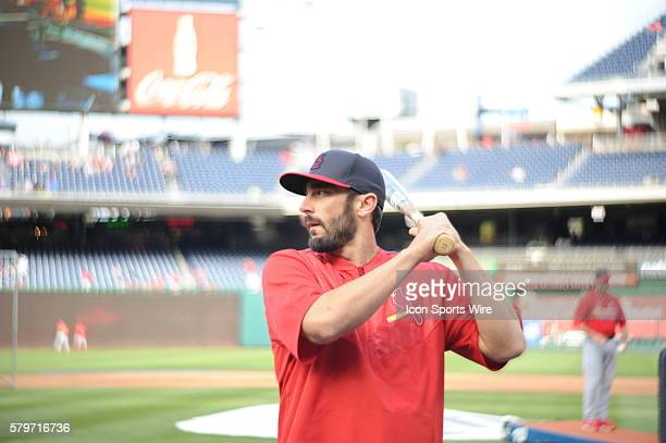 St Louis Cardinals third baseman Matt Carpenter warms up prior to the start of the game at Nationals Park in Washington DC