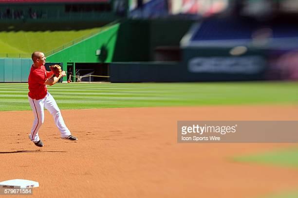 Washington Nationals second baseman Danny Espinosa warms up at Nationals Park in Washington DC