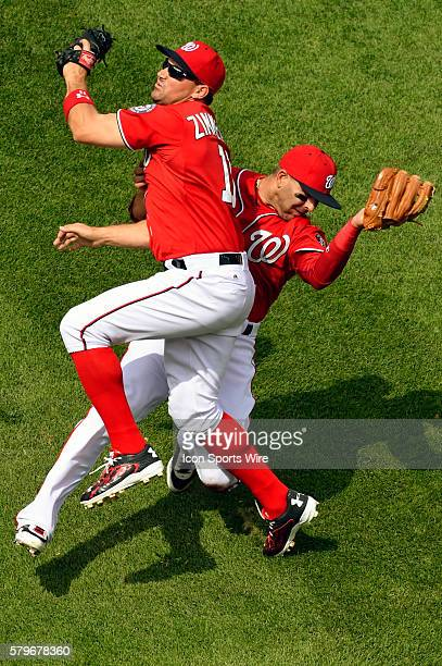 Washington Nationals third baseman Danny Espinosa and first baseman Ryan Zimmerman collided on a pop up at Nationals Park in Washington DC where the...