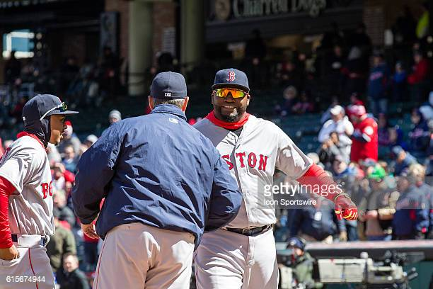 Boston Red Sox Designated hitter David Ortiz [1937] is greeted by Boston Red Sox Manager John Farrell as the opening day linups are introduced prior...
