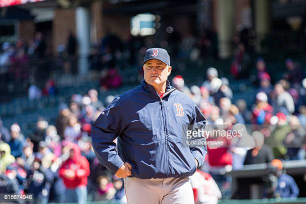 Boston Red Sox Manager John Farrell takes the field prior to the Major League Baseball game between the Boston Red Sox and Cleveland Indians on...